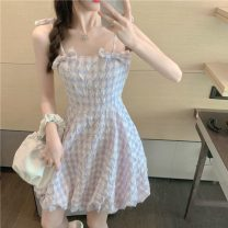 Dress Summer 2021 violet S, M Middle-skirt singleton  Sleeveless commute One word collar High waist lattice Socket A-line skirt other camisole 18-24 years old Type A Korean version Bow, fold 6860#