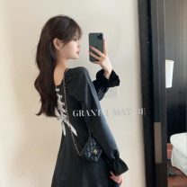 Dress Spring 2021 black S, M Miniskirt singleton  Long sleeves commute One word collar High waist Solid color A-line skirt routine 18-24 years old Type A Korean version