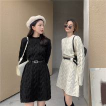 Dress Autumn 2020 Black, beige, leather belt Average size Middle-skirt singleton  Long sleeves commute Crew neck High waist Solid color Socket other routine Others 18-24 years old Type A Korean version 31% (inclusive) - 50% (inclusive) knitting acrylic fibres