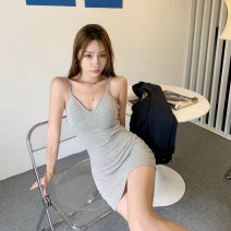 Dress Summer 2021 Gray, black Average size Short skirt singleton  Sleeveless commute V-neck High waist Solid color Socket One pace skirt other camisole 18-24 years old Type A Korean version