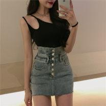skirt Spring 2021 S. M, l, average size Black suspender, khaki suspender, black cardigan, black grey skirt, blue skirt Short skirt commute High waist A-line skirt Solid color Type A 18-24 years old Korean version