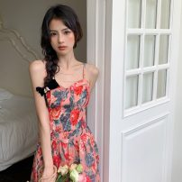 Dress Summer 2021 Picture color S, M Middle-skirt singleton  Sleeveless commute One word collar High waist Broken flowers zipper Princess Dress other camisole 18-24 years old Type A Korean version backless 31% (inclusive) - 50% (inclusive) other