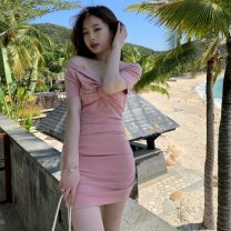 Dress Summer 2021 Black, pink Average size Short skirt singleton  Short sleeve commute V-neck High waist Solid color Socket One pace skirt routine Breast wrapping 18-24 years old Type A Korean version bow