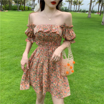 Dress Summer 2021 Purple, pink Average size Short skirt singleton  Short sleeve commute One word collar High waist Decor Socket A-line skirt puff sleeve Breast wrapping 18-24 years old Type A Korean version printing