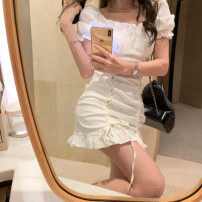 Dress Summer 2021 white S,M,L Short skirt singleton  Short sleeve commute Crew neck High waist Solid color Socket One pace skirt Wrap sleeves camisole 18-24 years old Type A Korean version Frenulum