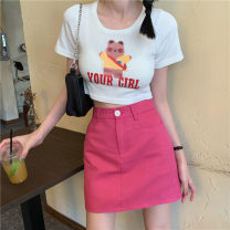 skirt Spring 2021 S,M,L,XL Rose, blue, black Short skirt Versatile High waist A-line skirt Solid color Type A 18-24 years old 3413# 30% and below other other 181g / m ^ 2 (including) - 200g / m ^ 2 (including)