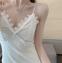 Dress Summer 2021 White, black S, M Short skirt singleton  Sleeveless commute V-neck High waist Solid color Socket A-line skirt other camisole 18-24 years old Type A Korean version Lace 1797#