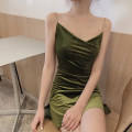 Dress Autumn of 2019 Black, red, green Average size Middle-skirt singleton  Sleeveless commute V-neck High waist Solid color Socket A-line skirt other Others 18-24 years old Type A Retro