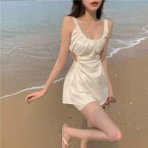 Dress Summer 2021 Apricot S, M Short skirt singleton  Sleeveless commute Crew neck High waist Solid color Socket A-line skirt routine camisole 18-24 years old Type A Korean version Hollowed out, pleated