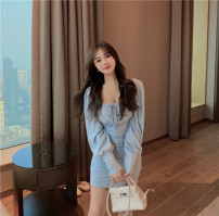 Dress Spring 2020 Classic black, haze blue Average size Middle-skirt singleton  Long sleeves commute square neck High waist Solid color Socket A-line skirt routine Others 18-24 years old Type A Korean version