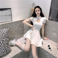 Dress Summer 2021 white Average size Middle-skirt singleton  Short sleeve commute Polo collar High waist Solid color Socket A-line skirt routine Others 18-24 years old Type A Korean version Hollowing out 961#