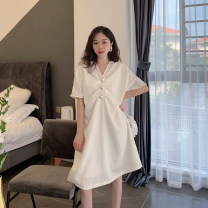 Dress Summer 2021 white S,M,L,XL Mid length dress singleton  Short sleeve commute V-neck Loose waist Solid color A-line skirt other 18-24 years old Type A Korean version