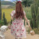 Dress Summer 2021 Flower dress Average size Middle-skirt singleton  Short sleeve commute square neck High waist Broken flowers Socket A-line skirt puff sleeve Others 18-24 years old Type A Korean version