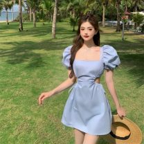 Dress Summer 2021 Baby blue, cream white Average size Middle-skirt singleton  Short sleeve square neck High waist Solid color Socket A-line skirt puff sleeve Others 18-24 years old Type A Hollowed out, bare back 2392#