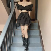 Fashion suit Summer 2021 S. M, l, average size Black top, black skirt 18-25 years old 30% and below cotton