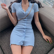 Dress Summer 2020 Red, blue Average size Short skirt singleton  Short sleeve commute V-neck High waist Solid color Single breasted A-line skirt routine Others 18-24 years old Type A Korean version 51% (inclusive) - 70% (inclusive)