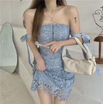 Dress Summer 2021 Sky blue, pink S,M,L Middle-skirt singleton  Sleeveless commute One word collar High waist Solid color Socket A-line skirt other Others 18-24 years old Type A Korean version bow