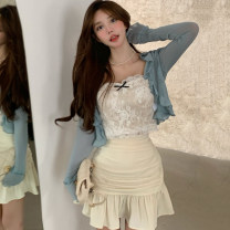Fashion suit Summer 2021 S. M, average size Blue cardigan, lace sling, apricot skirt 18-25 years old 30% and below
