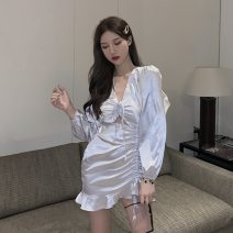 Dress Spring 2021 Silver, black Average size Short skirt singleton  Long sleeves commute V-neck High waist Solid color Socket One pace skirt puff sleeve Others 18-24 years old Type H Korean version Hollowed out, pleated, lace up More than 95% Silk and satin Cellulose acetate