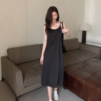 Dress Summer 2021 Green, black Average size Mid length dress singleton  Sleeveless commute High waist Solid color Socket One pace skirt other camisole 18-24 years old Type A Korean version