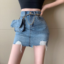Jeans Summer 2020 blue S,M,L shorts High waist Overalls routine 18-24 years old Dark color Other / other