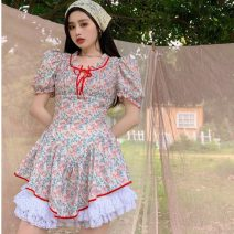 Dress Summer 2021 Floral skirt with white background S, M Middle-skirt singleton  Short sleeve commute other High waist Broken flowers Socket A-line skirt puff sleeve Others 18-24 years old Type A Korean version 9784# 31% (inclusive) - 50% (inclusive)