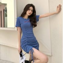 Dress Summer 2021 blue Average size Short skirt singleton  Short sleeve commute Crew neck High waist Solid color Socket One pace skirt other Others 18-24 years old Type A Korean version Fold, lace up