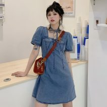 Dress Summer 2021 Dress (with neck strap), shirt (with collar) S, M Middle-skirt singleton  Short sleeve commute square neck High waist Solid color Socket A-line skirt puff sleeve Others 18-24 years old Type A Korean version 51% (inclusive) - 70% (inclusive) Denim