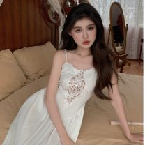 Dress Summer 2021 white S, M Mid length dress singleton  Sleeveless commute Crew neck High waist Solid color other A-line skirt routine camisole 18-24 years old Type A Korean version Zipper, lace 31% (inclusive) - 50% (inclusive)