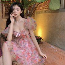 Dress Summer 2021 Floral skirt S, M Short skirt singleton  Short sleeve commute V-neck High waist Decor Socket Princess Dress puff sleeve Others 18-24 years old Type A Korean version printing 31% (inclusive) - 50% (inclusive) polyester fiber