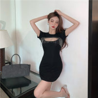 Dress Summer 2021 White, black S,M,L Short skirt singleton  Short sleeve commute Crew neck High waist Solid color Socket A-line skirt routine Others 18-24 years old Type A Korean version Hollowing out