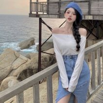 Fashion suit Spring 2021 S. M, l, average size Shoulder top, denim skirt 18-25 years old