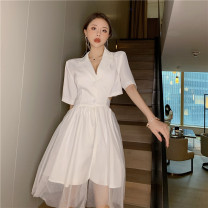 Dress Summer 2021 White, black S,M,L Middle-skirt singleton  Short sleeve commute tailored collar High waist Solid color Single breasted Irregular skirt routine Others 18-24 years old Type A Peipei clothing Korean version Gauze