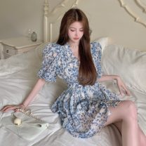 Dress Summer 2021 Picture color S, M Middle-skirt singleton  Short sleeve commute V-neck High waist Broken flowers Socket A-line skirt other Others 18-24 years old Type A Korean version 9556# Chiffon