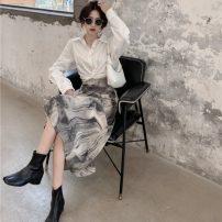 Fashion suit Summer 2021 S. M, average size White shirt, skirt 18-25 years old