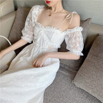 Dress Summer 2021 white S, M Mid length dress singleton  Short sleeve commute One word collar High waist Solid color Socket A-line skirt other Others 18-24 years old Type A Other / other Korean version backless 31% (inclusive) - 50% (inclusive) other other