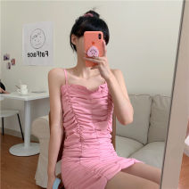 Dress Summer 2021 Pink S,M,L Short skirt singleton  Sleeveless commute One word collar High waist Solid color Socket One pace skirt other camisole 18-24 years old Type A Korean version fold