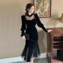 Dress Spring 2021 black S,M,L Mid length dress singleton  Long sleeves commute square neck High waist Solid color Socket A-line skirt routine Others 18-24 years old Type A Other / other Korean version