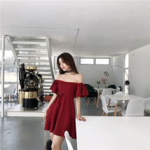 Dress Summer of 2018 Wine red black S M Mid length dress singleton  Short sleeve commute One word collar High waist Solid color Socket A-line skirt pagoda sleeve Others 18-24 years old Type A Korean version bow eight thousand and thirty-one More than 95% polyester fiber