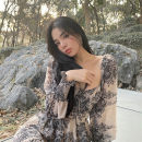 Dress Spring 2021 coffee S,M,L other Long sleeves commute High waist Decor Socket other Others 18-24 years old Type A More than 95% Chiffon