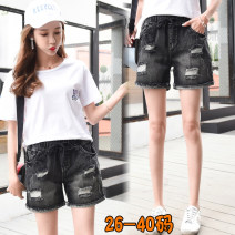 Jeans Summer of 2018 black shorts High waist Straight pants routine 25-29 years old Cotton denim Dark color