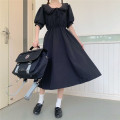 Dress Summer 2021 black S,M,L,XL,2XL longuette singleton  Nine point sleeve Sweet Doll Collar Elastic waist Solid color Three buttons A-line skirt routine Others 18-24 years old Type A Tagkita / she and others Button, stitching Tongtong home 51% (inclusive) - 70% (inclusive) other polyester fiber