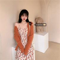 Dress Autumn 2020 Sweater, coat, dress Average size (80 ~ 90kg), m plus (90 ~ 100kg), l plus (100 ~ 120kg), XL (120kg ~ 140kg), 2XL (140kg ~ 160kg), 3XL (160kg ~ 180kg), 4XL (180kg ~ 200kg) Mid length dress Two piece set Long sleeves commute Broken flowers A-line skirt routine camisole Korean version