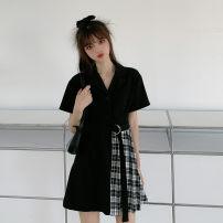 Women's large Summer 2020 black Size M (90-100kg), l (100-120kg), XL (120-140kg), 2XL (140kg-160kg), 3XL (160kg-180kg), 4XL (180kg-200kg) Dress singleton  commute Self cultivation moderate Cardigan Short sleeve Plaid, solid Korean version Polo collar routine belt Short skirt Irregular skirt