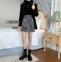 skirt Winter 2020 L (100 ~ 120 kg), XL (120 ~ 140 kg), 2XL (140 ~ 160 kg), 3XL (160 ~ 180 kg), 4XL (180 ~ 200 kg) Black lines on a white background Short skirt commute 18-24 years old Korean version