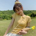 Women's large Summer 2021 Apricot, white, purple, yellow, black, pink, lake green XL (100-125 Jin recommended), 2XL (125-150 Jin recommended), 3XL (150-175 Jin recommended), 4XL (175-200 Jin recommended) T-shirt singleton  commute Self cultivation moderate Socket Short sleeve Solid color Crew neck