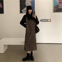 Women's large Spring 2020, autumn 2020 Leopard Dress, black shirt Average size (80 ~ 100kg), l plus (100 ~ 120kg), XL (120 ~ 140kg), 2XL (140kg ~ 160kg), 3XL (160kg ~ 180kg), 4XL (180kg ~ 200kg) Dress Two piece set commute Conjoined Long sleeves Solid color, animal pattern Retro Polo collar routine