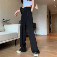 Casual pants Black, white, blue, pink S,M,L,XL Spring 2021 trousers Wide leg pants High waist commute routine 25-29 years old B103 polyester fiber Korean version pocket polyester fiber