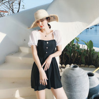 one piece  Senmanqi M,L,XL black With chest pad without steel support female Short sleeve Casual swimsuit