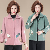 Middle aged and old women's wear Spring 2021, autumn 2021 Khaki, green, pink XL [recommended 85-100 kg], 2XL [recommended 100-115 kg], 3XL [recommended 115-130 kg], 4XL [recommended 130-145 kg], 5XL [recommended 145-160 kg] fashion Jacket / jacket Self cultivation singleton  other 40-49 years old